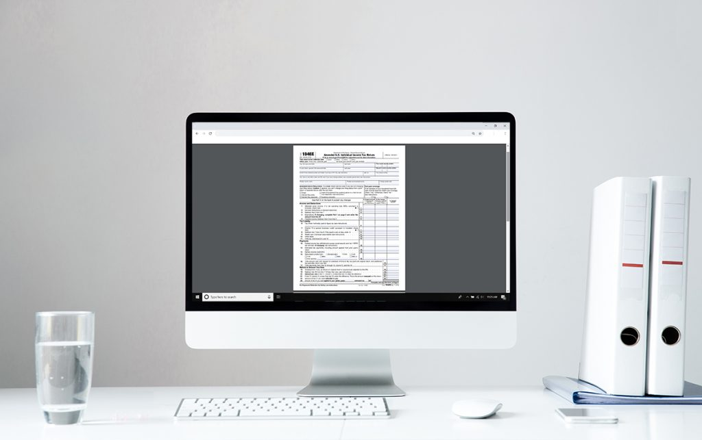 Computer screen with tax document