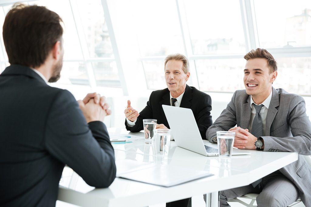 Business meeting in bright room