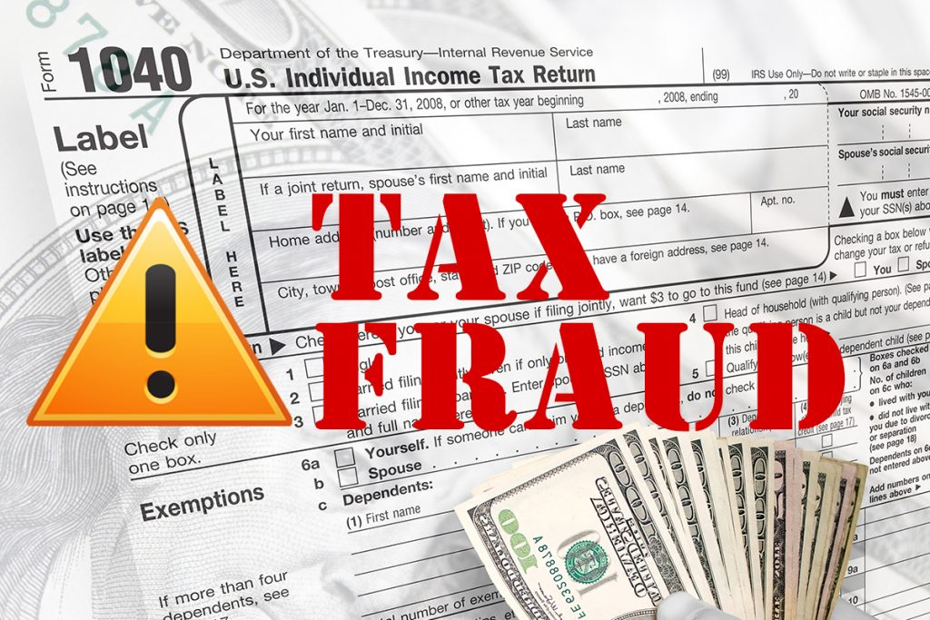 Tax Fraud in Red letters above tax document