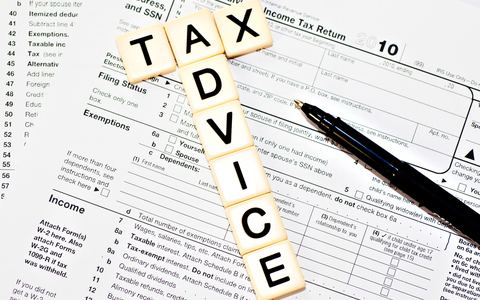Tax Advice tiles on top of tax document